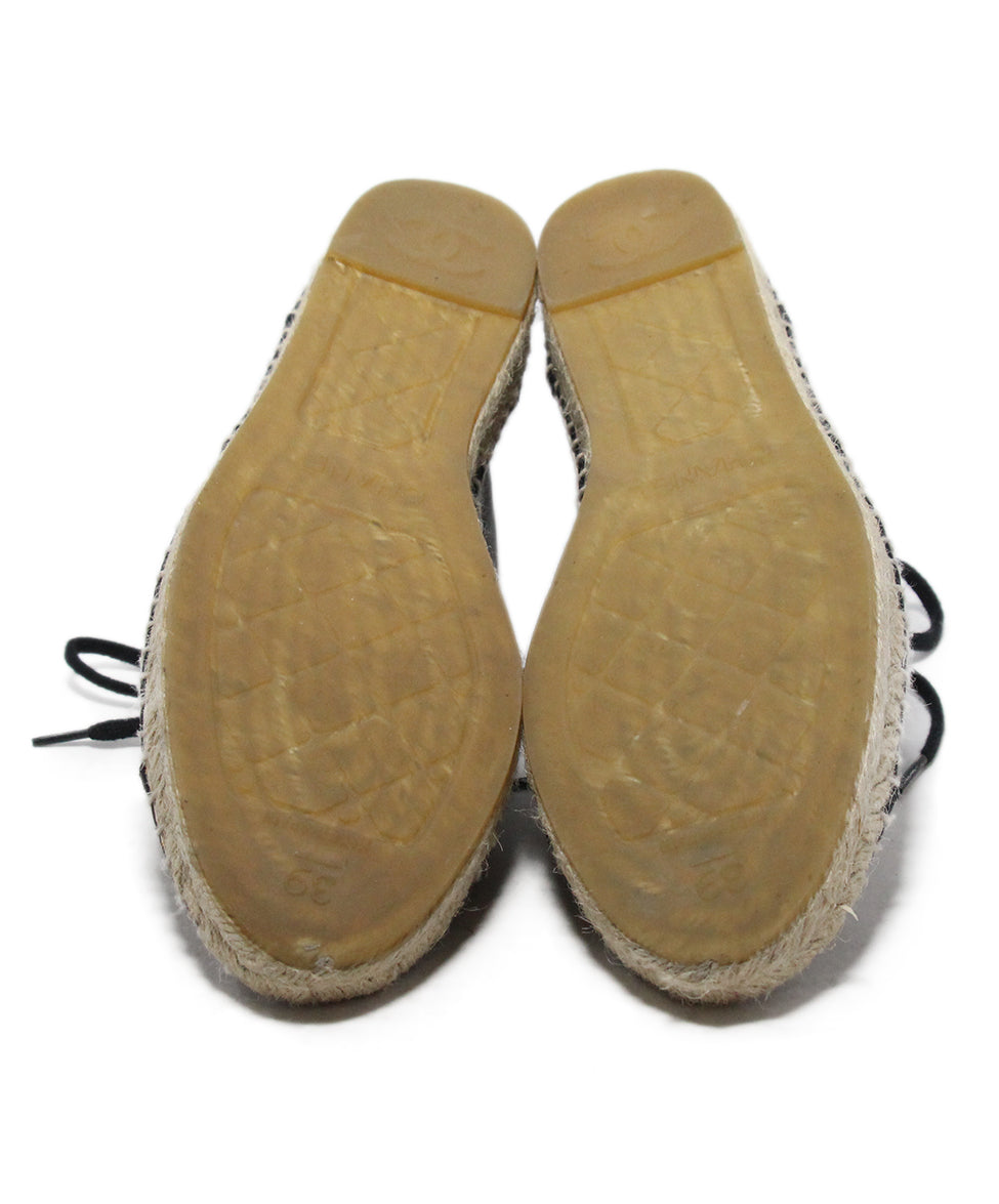 Chanel black leather espadrilles 5