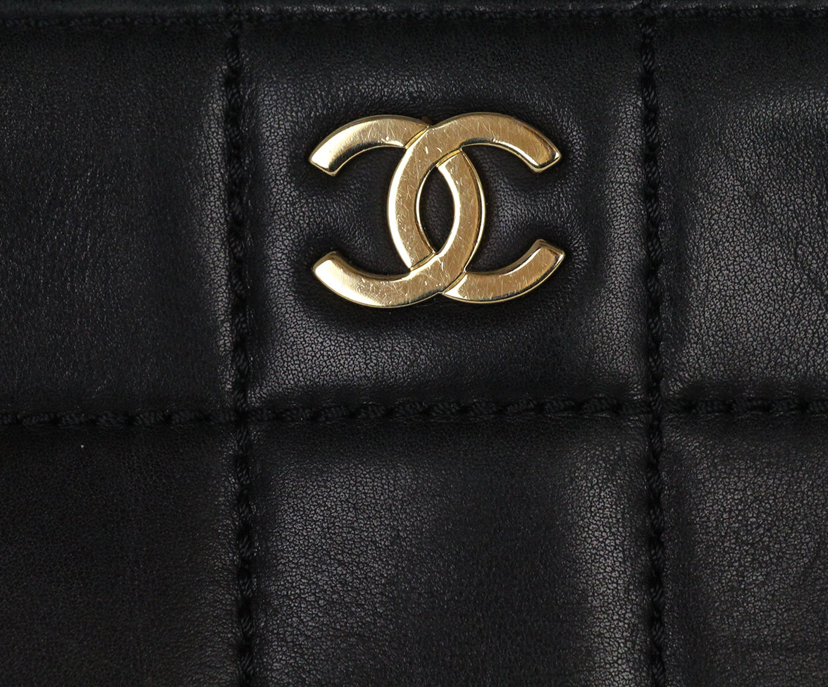 Chanel Black Leather Quilted Tote Handbag 9