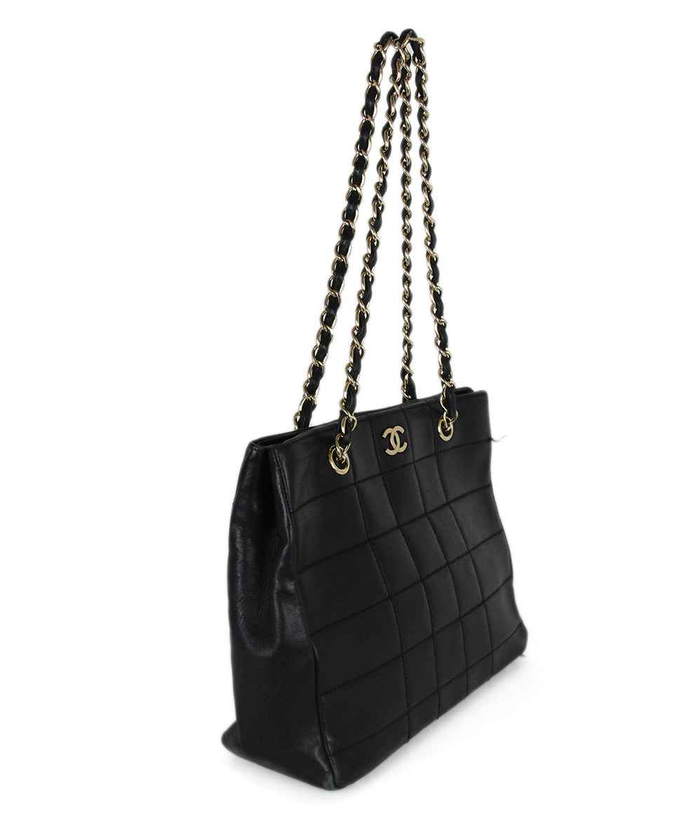Chanel Black Leather Quilted Tote Handbag 2
