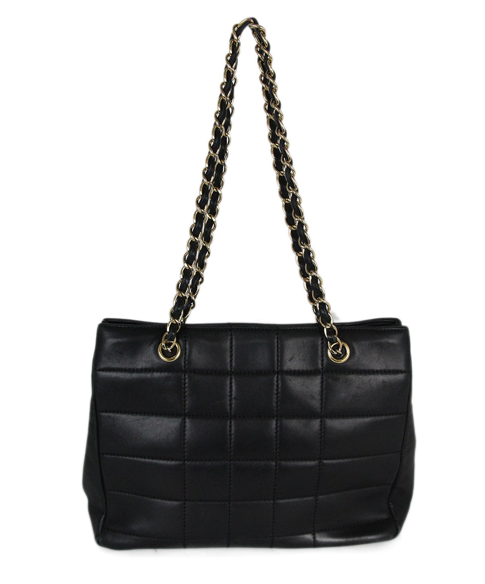 Chanel Black Leather Quilted Tote Handbag 3