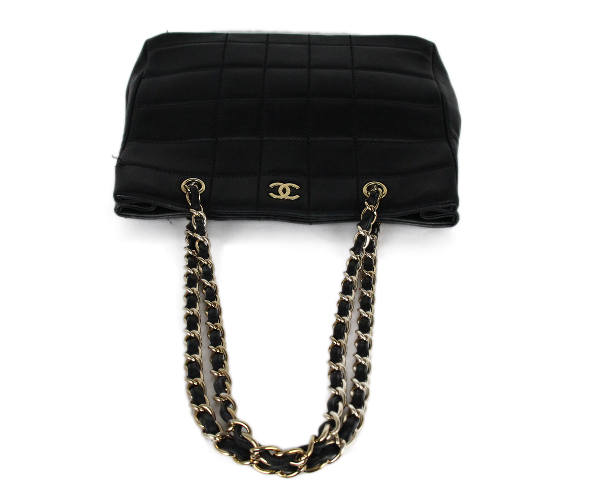 Chanel Black Leather Quilted Tote Handbag 5