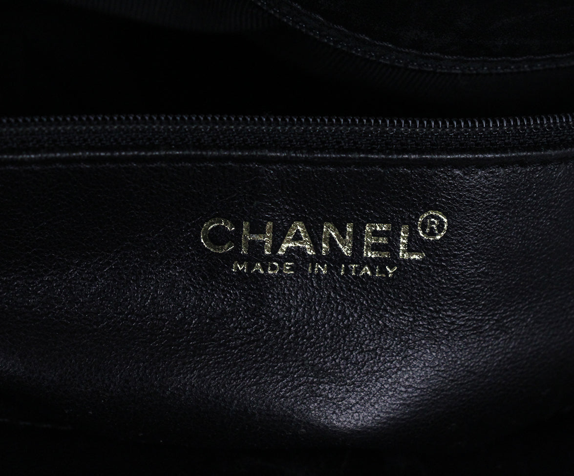 Chanel Black Leather Quilted Tote Handbag 7