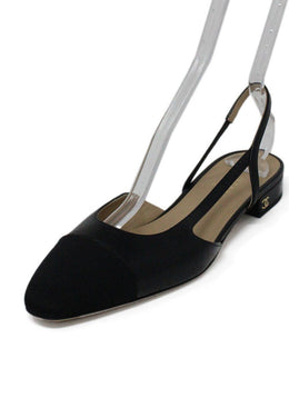 Chanel Black Leather Grosgrain Slingback Flats