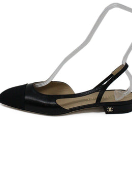 Chanel Black Leather Grosgrain Slingback Flats 1