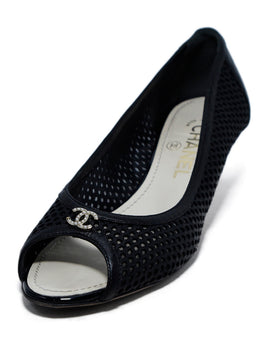 Chanel Black Leather Mesh Peep Toe Heels 1