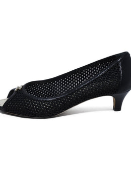 Chanel Black Leather Mesh Peep Toe Heels 2