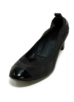 Chanel Black Leather Patent Trim Heels 1