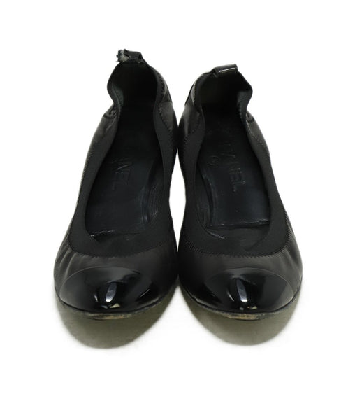 Chanel Black Leather Patent Trim Heels 4