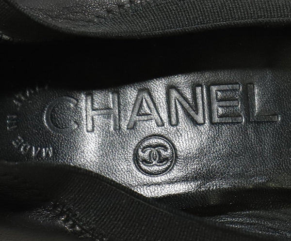 Chanel Black Leather Patent Trim Heels 6