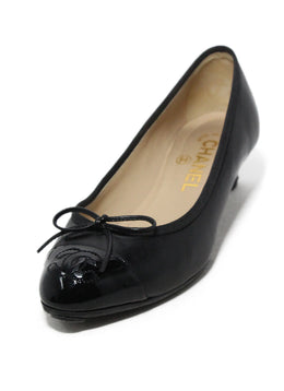 Chanel black leather patent trim 1