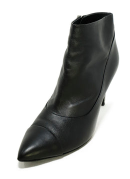 Chanel Black Leather Silver Trim Heel Booties 1