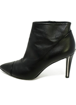 Chanel Black Leather Silver Trim Heel Booties 2