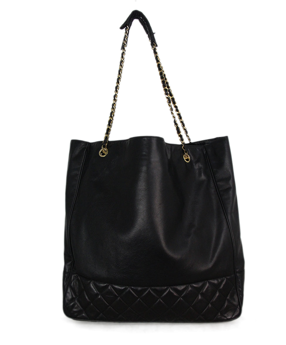 Chanel black leather tote 3