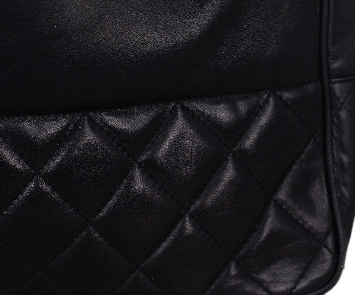 Chanel black leather tote 9