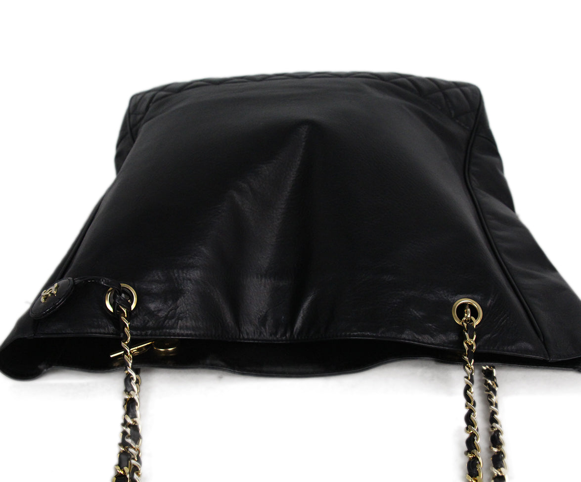 Chanel black leather tote 5