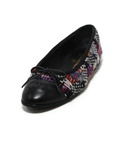Chanel black leather white purple tweed flats 1