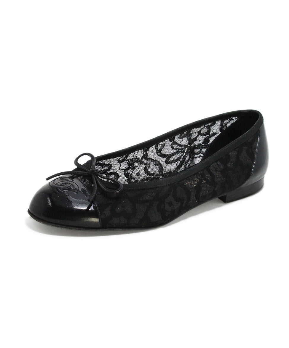 Chanel black mesh lace flats 1