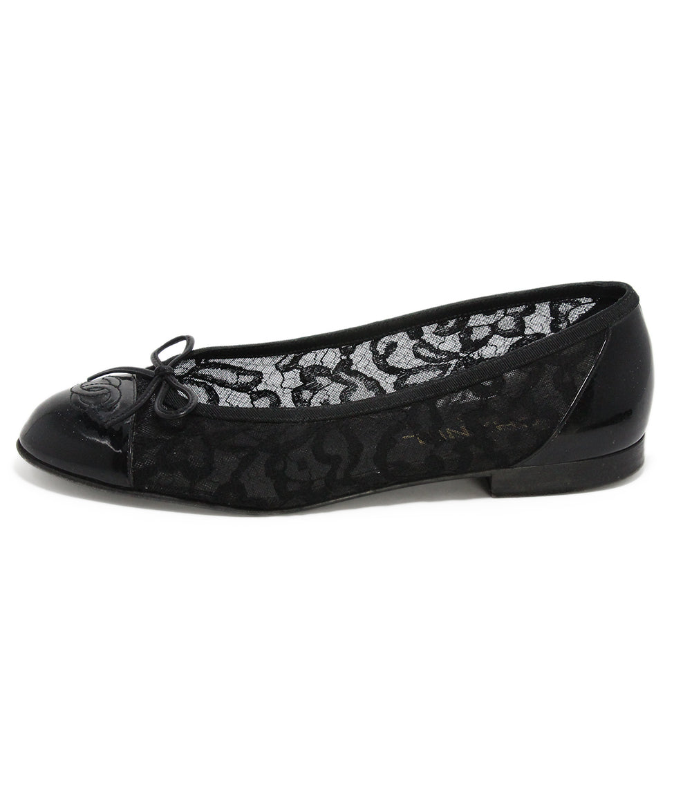 Chanel black mesh lace flats 2