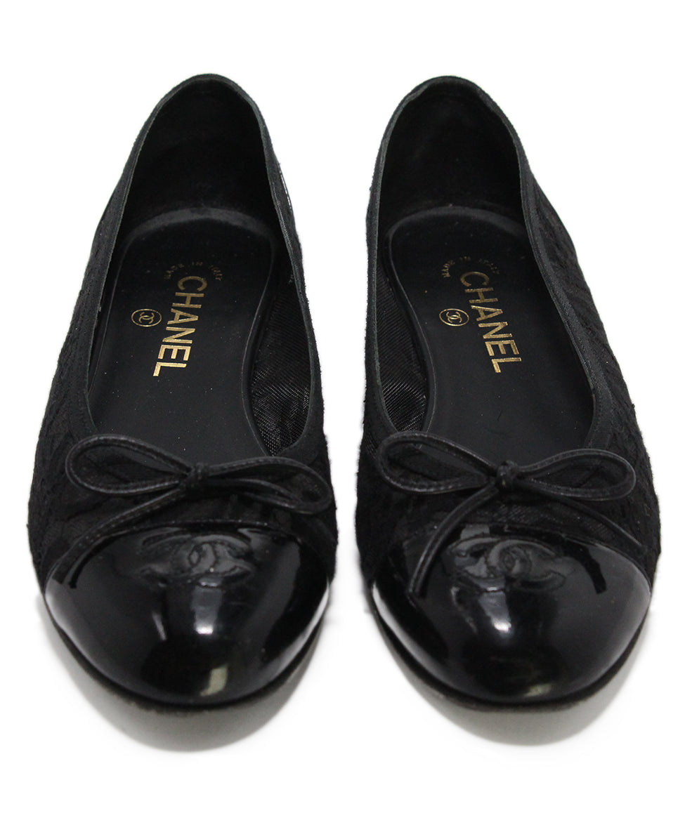 Chanel black mesh lace flats 4