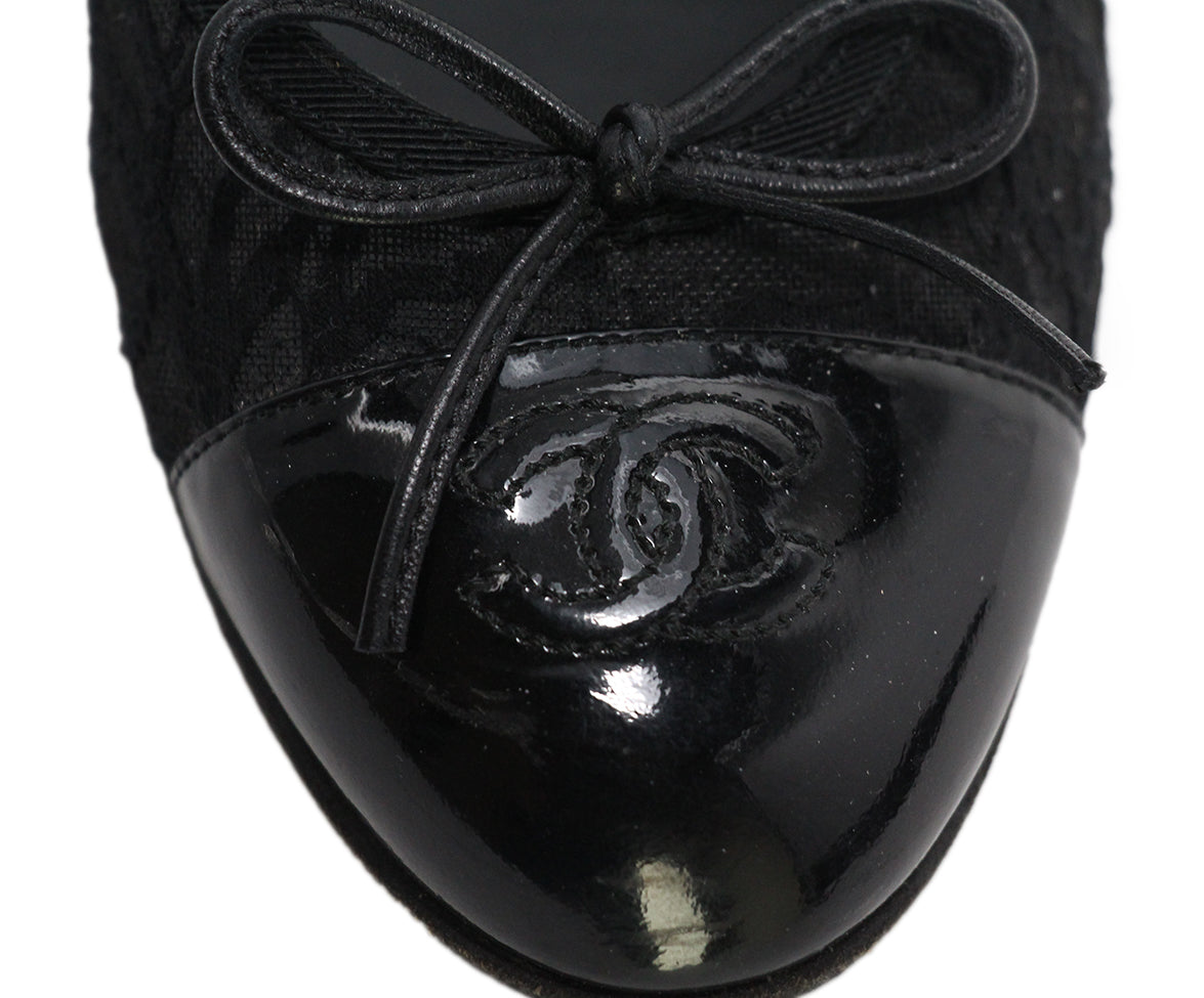 Chanel black mesh lace flats 8