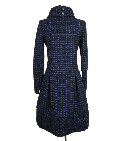 Chanel Black Navy Wool Tweed Pocket Details Dress 3