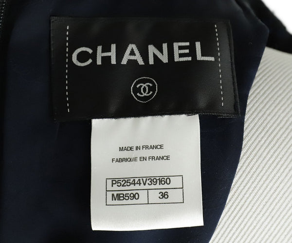 Chanel Black Navy Wool Tweed Pocket Details Dress 4