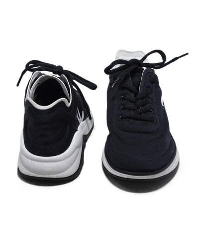 Chanel Black Nylon White Trim Sneakers 1