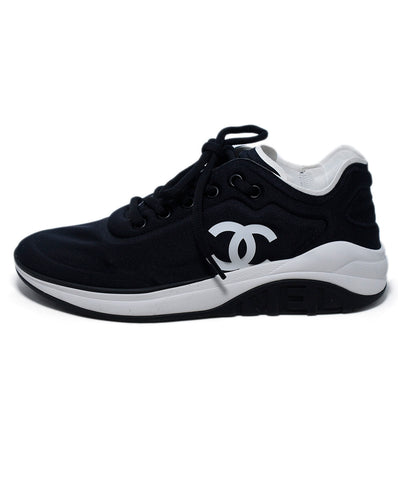 Chanel Black Nylon White Trim Logo Sneakers 1