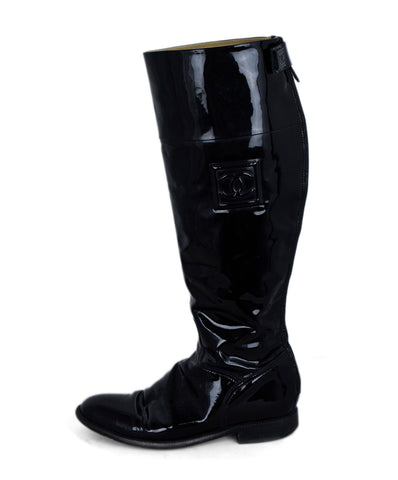 Chanel Black Patent Leather Boots 1