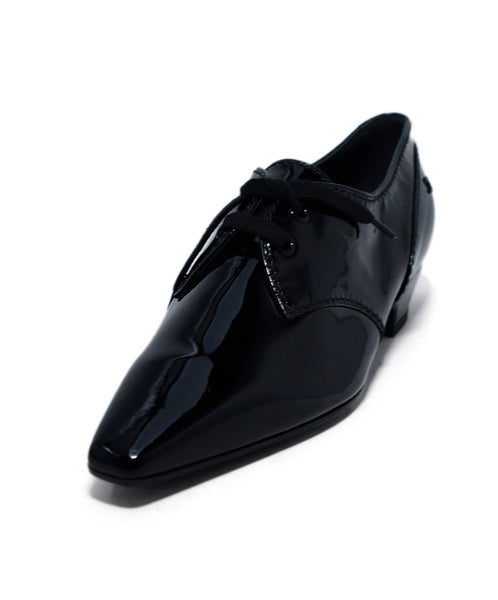 Chanel Black Patent Leather Oxford Flats 1