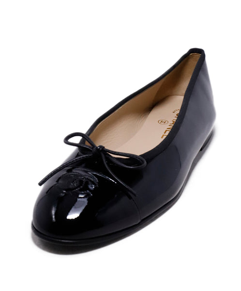 Chanel Black Patent Leather Ballerina Flats 1