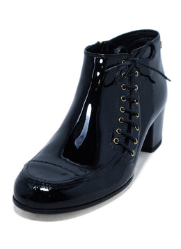 Chanel Black Patent Leather Lace Up Booties 1