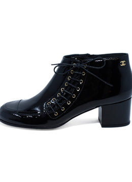 Chanel Black Patent Leather Lace Up Booties 2