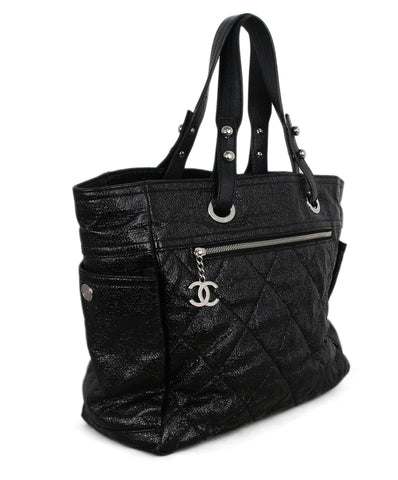 Chanel black patent leather tote 1