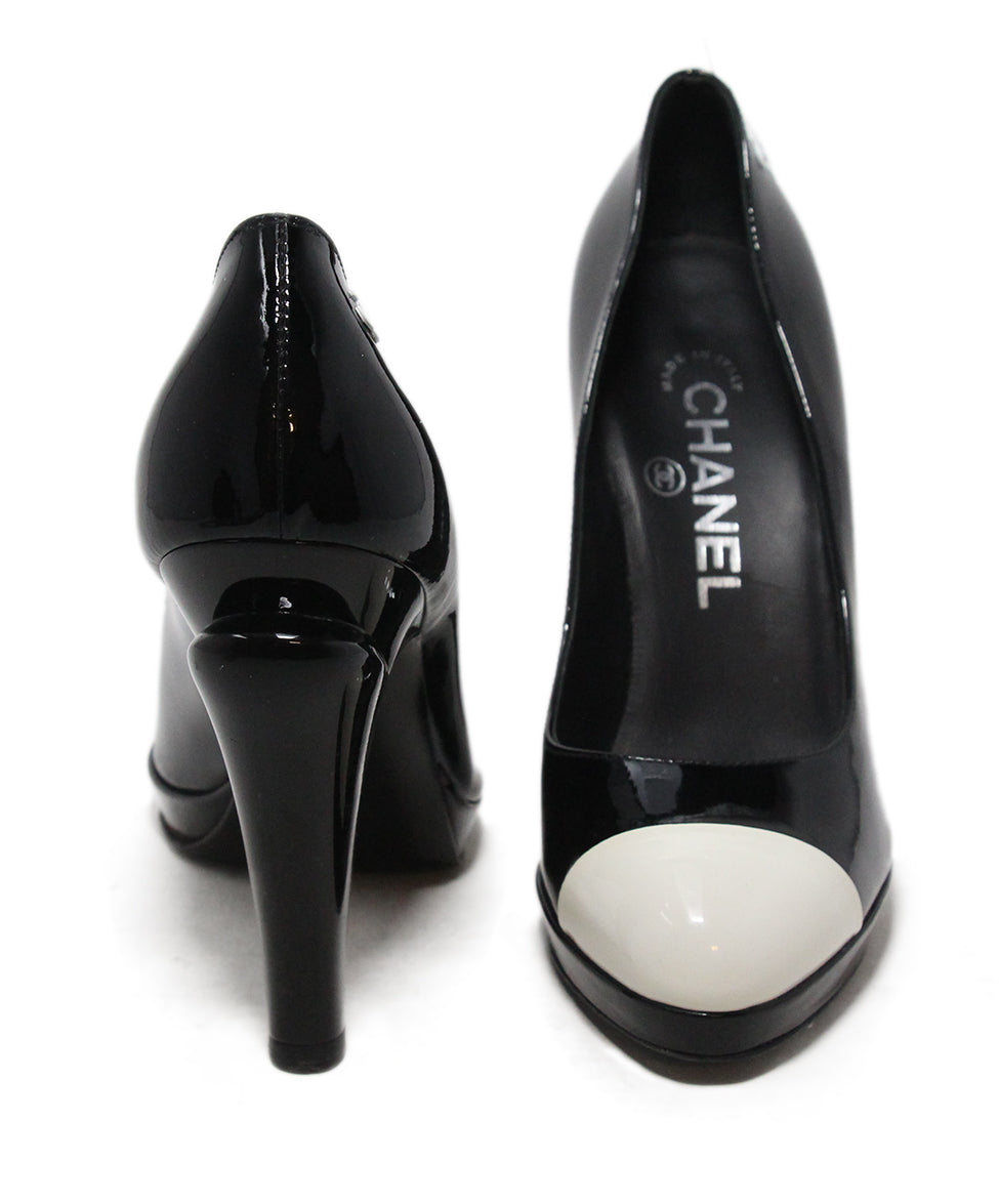 Chanel black patent leather white heels 3
