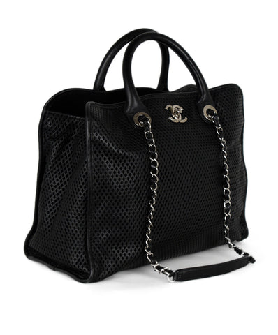 Chanel Black Perforated Leather Satchel Handbag 1