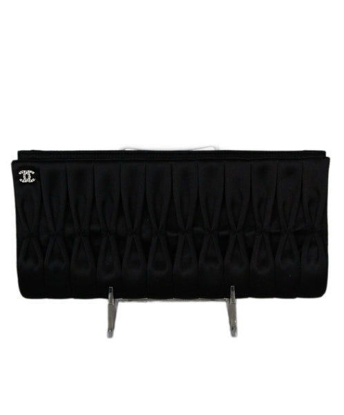 Chanel Black Puckered Satin Evening Clutch Handbag 1