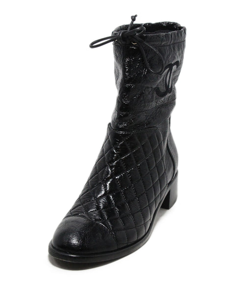 Chanel black quilted leather booties 1