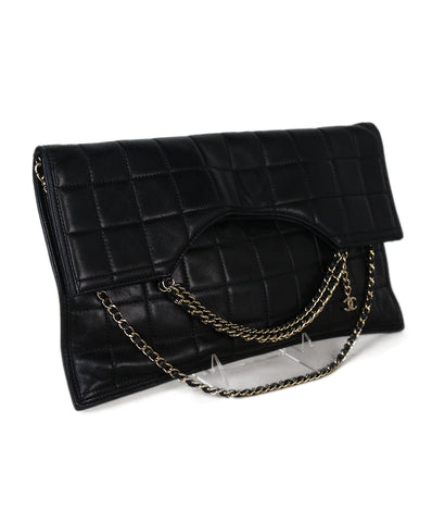 Chanel black quilted leather clutch 1