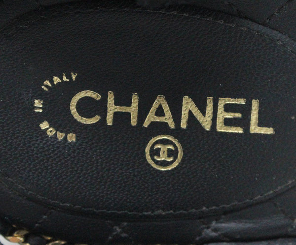 Chanel Black Quilted Leather Gold Chain Sandals Sz 40.5