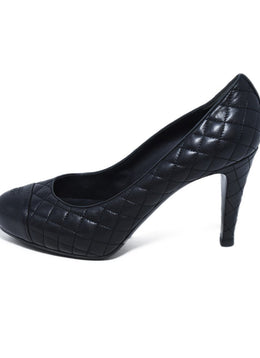 Chanel Black Quilted Leather Heels 2