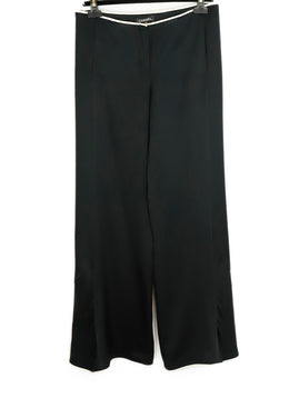Chanel Size 8 Black Silk Ivory Trim Pants 1