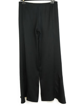 Chanel Size 8 Black Silk Ivory Trim Pants 2