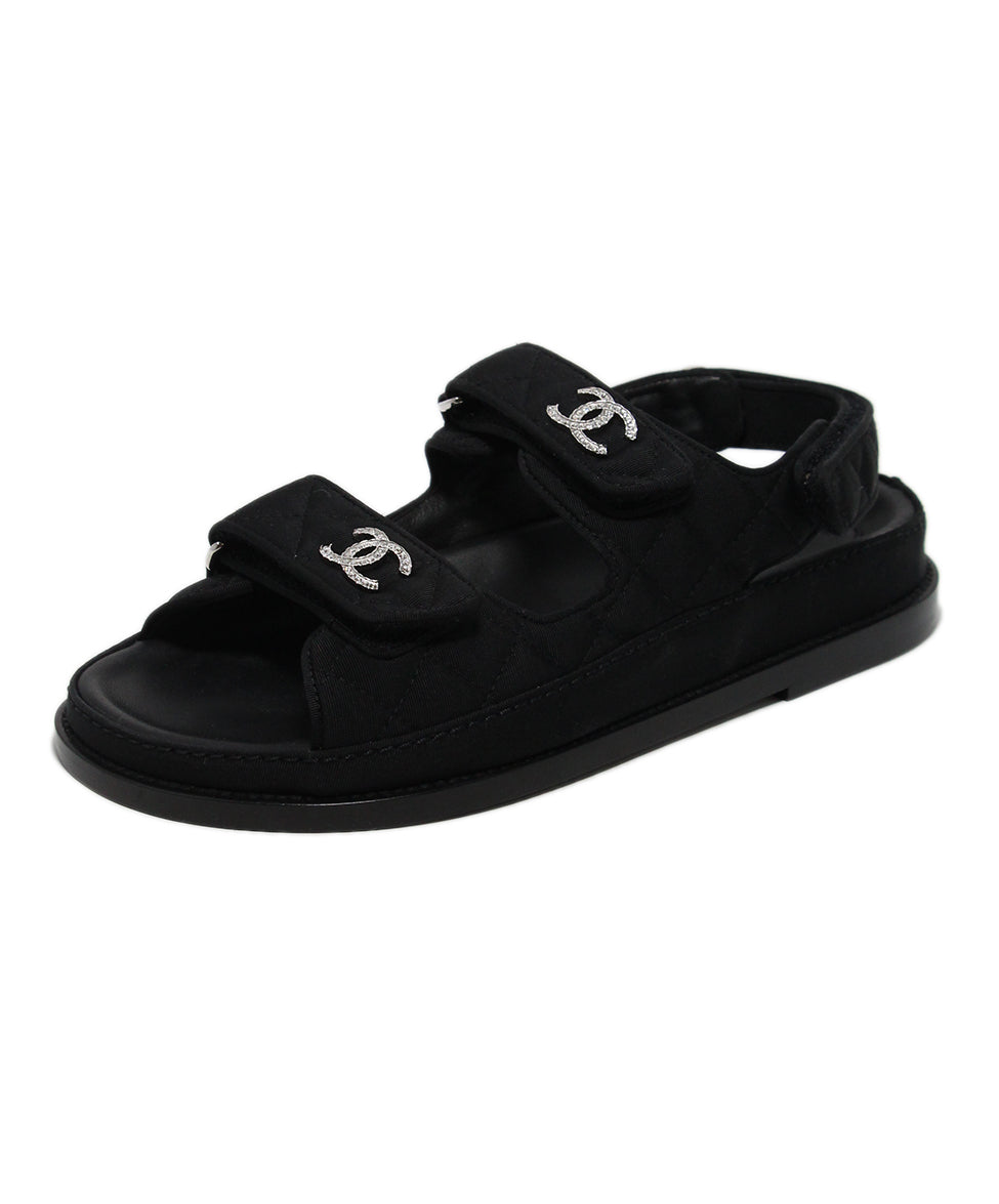 Chanel black silk rhinestone sandals 1