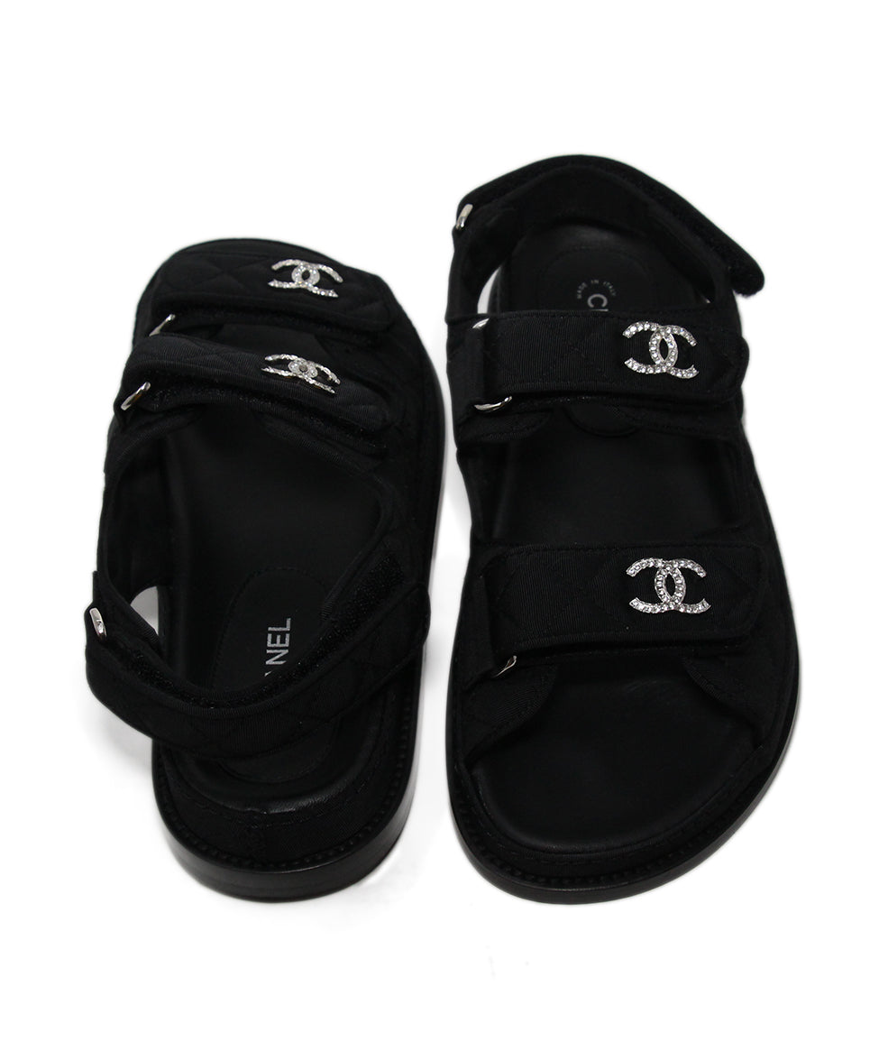 Chanel black silk rhinestone sandals 3