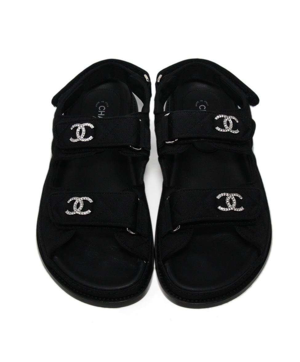 Chanel black silk rhinestone sandals 4