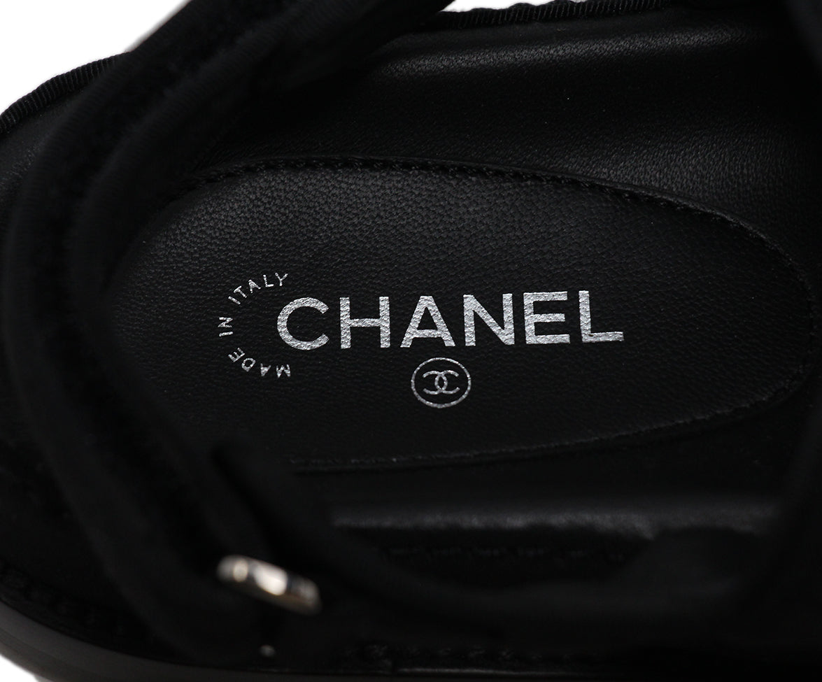 Chanel black silk rhinestone sandals 7