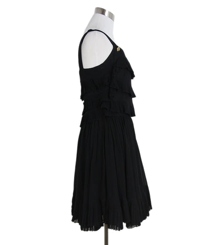 Chanel black silk tiered vintage dress 1