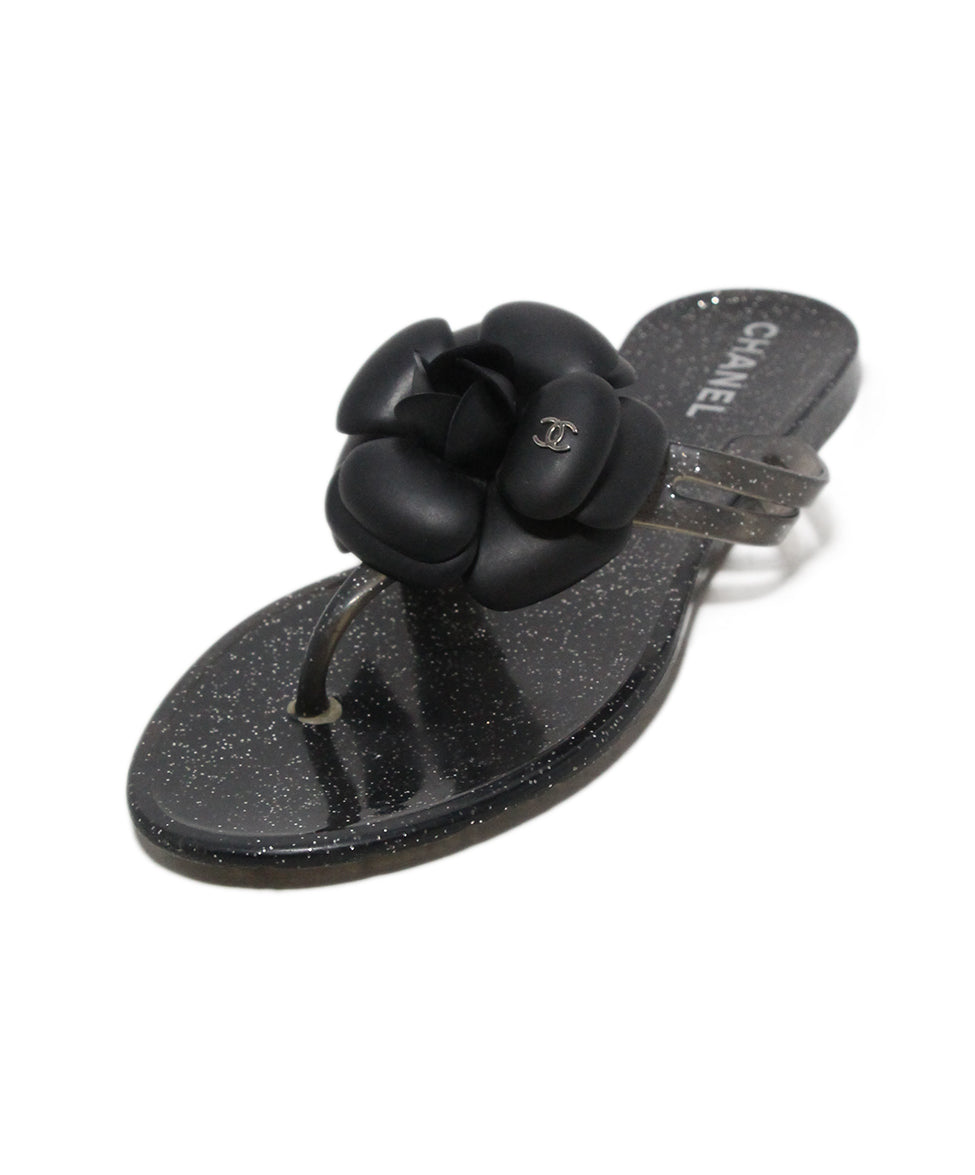 03791881a4b Chanel Sandals US 6 Black Silver Jelly Floral Shoes - Michael s ...