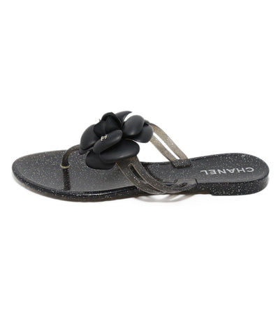 Chanel black silver jelly floral sandals 1